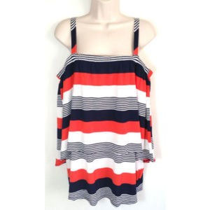 CUPIO Women Striped Tiered Strap Tunic Top 0412E1